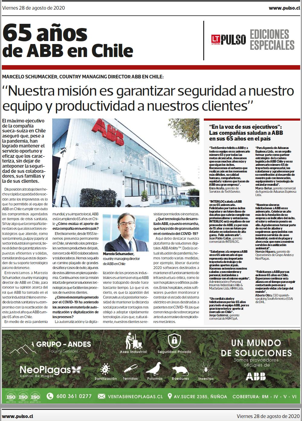 65 años de ABB - publireportaje La Tercera- 2020.
